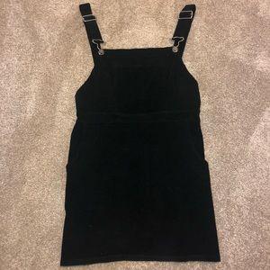 Black Velvet Overall Dress
